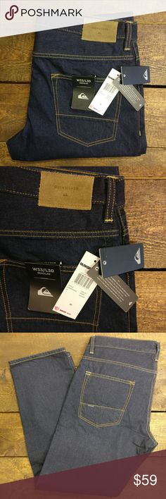 """Quicksilver Men's Sequel Rinse Dark Blue Jeans Quiksilver Men's Sequel Rinse Dark Blue Jeans Regular Fit Brand new with tags!  Stylish and high-quality denim!  5 pocket design.  Zip-up fly.  100% cotton fabric.  11.5oz. medium weight denim material.  Washable paper denim patch on back.  Simple rinse wash & 3D whiskers.  30"""" inseam. Quiksilver Jeans"""