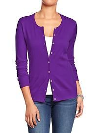 Old Navy - Women's Crew-Neck Cardigans (purple, black, grey, and red) $14.00