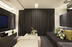 Home theater - Home Theater Small Living Rooms, Home Living Room, Home Library Decor, Home Decor, Courtyard House Plans, Villa, Minimalist Apartment, Modern Cottage, Home Cinemas