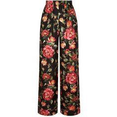 Dolce & Gabbana Rose Print Silk Trousers