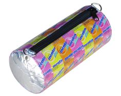 This crossbody bag is made using Mentos candy wrapper, kept in the original shape of the candy package. When detaching the strap, can be used also as a pencil case. Using YKK zipper and a black polyester fabric for lining.  This bag has no inner compartments.  Dimensions in inches: 9 long, 3.8 diameter Dimensions in centimeters: 23 cm long, 9 cm Diameter.  Weight: 5.3 ounce (150 grams)  ************************************************** A Mentos pencil case is available here: https:/&#x2...