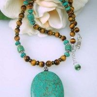 Turquoise And Tiger Eye Gemstone Necklace Project
