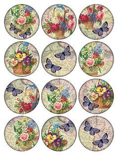 Vintage Printable Tags Digital Collage Sheet flowers and butterflies large circle images round i Images Vintage, Vintage Tags, Vintage Labels, Vintage Ephemera, Vintage Prints, Decoupage Vintage, Vintage Paper, Etiquette Vintage, Bottle Cap Images
