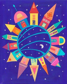 'The Town Around the Moon' - Art Print Drawing For Kids, Painting For Kids, Art Wall Kids, Art For Kids, Ecole Art, Using Acrylic Paint, Preschool Art, Moon Art, Art Lessons