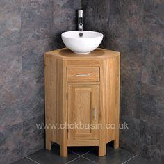 300mm Ia Round Basin With Alta Cloakroom Corner Single Door Oak Cabinet