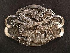 RECTANGULAR GOLD CHINESE DRAGON BELT BUCKLE METAL CALENDAR TRADITIONAL FANTASY