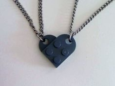 Lego Interlocking-Heart Pendants. One for you, one for your bf, when unlinked, just looks like a lego piece, linked together, it a heart. Easy to make, coupler lego pieces can be tough to find.