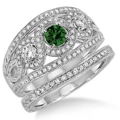 """2 Carat Emerald & Diamond Trilogy set Ring on 10k White Gold. Say """" I DO"""" with the dazzling and perfect Emerald wedding ring engagement set. She will love this lovely and trendy style of this diamond and Emerald ring.