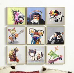 hand painted cute cartoon animal painting abstract wall art for home decoration  kids room decor happy frog monkey oil painting