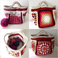 00 Bagalong small project bag Crafternoon Treats www.crafternoontr… Bagalong small project bag Crafternoon Treats www. Free Crochet Bag, Crochet Shell Stitch, Crochet Tote, Crochet Handbags, Crochet Purses, Crochet Gifts, Sac Granny Square, Granny Squares, Crochet Designs