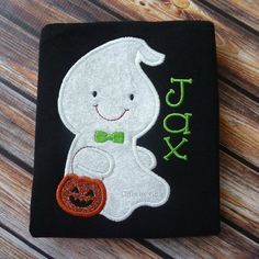 Halloween boy ghost shirt, personalized ghost shirt, trick or treat design, embroidered shirt, personalized Halloween shirt
