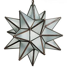 18 Inch Hanging Frosted White Glass Star Pendant Lamp