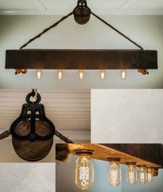 Barnwood beam chandelier with Edison bulbs, rope and pulley