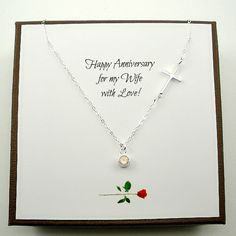 Anniversary Gift for Wife by StarringYouJewelry Made with sterling silver components and a rose quart gemstone pendant. A happy birthday message is available as well  #handmadejewelry #giftforwife #anniversarygift