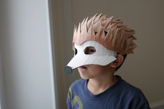 Hedgehog mask, painted.