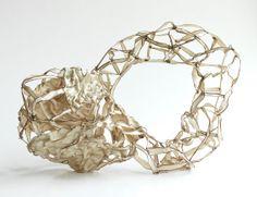 Beige singed fabric sculpture - abstract sculpture, fiber art, fabric sculpture