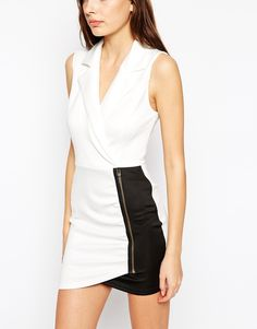 White top with mesh insert body-conscious dress