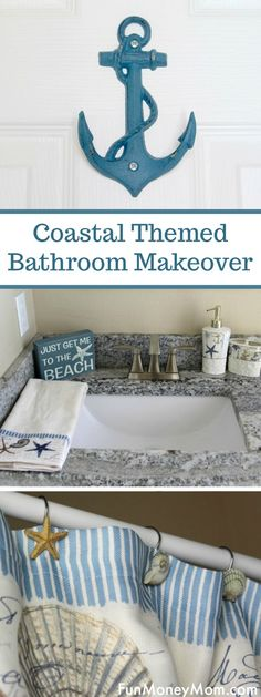 Coastal Themed Bathroom Makeover - Want to remodel your bathroom with a coastal theme With the right coastal themed accessories and a little cleaning, your bathroom upgrade will be amazing! makeover via funmoneymom Beach Theme Bathroom, Nautical Bathrooms, Beach Bathrooms, Ocean Bathroom, Boho Bathroom, Simple Bathroom, White Bathroom, Diy Bathroom Remodel, Diy Bathroom Decor