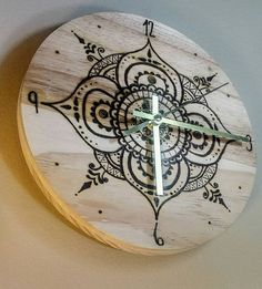 Wood burned henna mandala clock wood burn clock wood burn