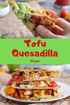 Protein-packed tofu quesadilla with flavors of lime, chili and smoked paprika. This is a crowd-pleasing recipe that's perfect with guacamole and fresh salsa! Vegan Dinner Recipes, Vegan Dinners, Healthy Recipes, Lunch Recipes, Easy Clean Eating Recipes, Easy Meals, Vegan Comfort Food, Vegan Food, Ground Beef Enchiladas