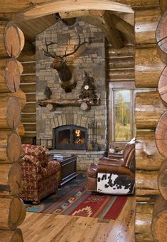 fireplace cabin ideas | ... Log Cabin Month with Rustic Home Inspiration | New Homes & Ideas