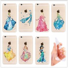 A dream is a wish your heart makes....  This is a stunning silhouette on a transparent case depicting Disney Princesses. Cinderella, Sleeping Beauty, Snow White, Elsa, Jasmine. Available for iPhone 5/5S, 4/4S, 5C, 6/6S, 6/6S Plus