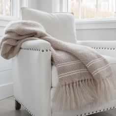 Driftwood Taupe Mohair Throw