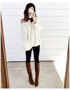 Tall Boots Outfit, Winter Boots Outfits, Fall Fashion Outfits, Casual Fall Outfits, Tall Fall Boots, Brown Boots Outfit Winter, Fashion Wear, Emo Fashion, Brown Fall Boots