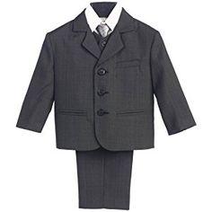Boy's 3 Button 5 Piece Suit with Shirt, Vest, and Tie