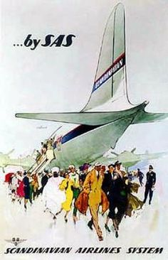 ..by SAS  Artist: Unknown  Circa:1950's  Origin:Denmark  We'll need to head to the airport for today's 'Sky, Sea & Rail' poster. SAS, Scandinavian Airlines System was founded in 1946 and carried passengers between Denmark, Norway and Sweden. And in 1954 it became the first airline to operate a trans-polar route. We hope you've packed your thermals!