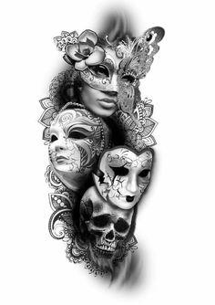 tattoo k& tattoo designs diamant tattoos cameo tattoo jeff . Cool Half Sleeve Tattoos, Half Sleeve Tattoos Designs, Tattoo Designs, Venetian Mask Tattoo, Venetian Masks, Skull Tattoos, Body Art Tattoos, Girl Tattoos, Tattoos Pics