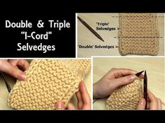 How to Knit Double & Triple I-Cord Edges, Easy Selvedge Knitting Tutorial, 2 or 3 Stitches Wide. These double and triple I-cord edges are easy to add to any knitting pattern to create a smooth and neat selvedges. In comparison to the classic I-cord edging Knitting Videos, Easy Knitting, Knitting Stitches, Knit Edge, I Cord, Yarn Thread, Edge Stitch, Yarn Crafts, Diy Gifts