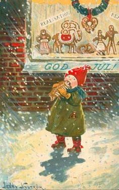 Jenny Nystrom – Swedish) - - (Part V) A Series of Christmas Paintings: – to be continued) (See also: Part I, Part II, Part III and Part IV). Swedish Christmas, Old Christmas, Old Fashioned Christmas, Scandinavian Christmas, Beautiful Christmas, Xmas, Vintage Christmas Images, Vintage Holiday, Christmas Pictures