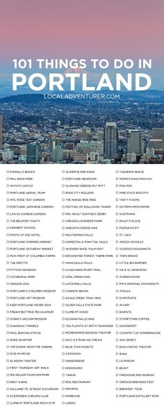 101 Things to Do in Portland Oregon { click through to get printable version } - the Ultimate Portland Bucket List - from the touristy spots everyone has to do at least once to the spots a little more off the beaten path. Oh The Places You'll Go, Places To Travel, Travel Destinations, Oregon Travel, Usa Travel, Travel Portland, Oregon Vacation, Moving To Portland Oregon, Portland Hikes