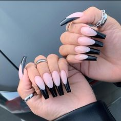 53 Hottest Acrylic Coffin Nails Design For Spring Long Nails - Latest Fashion Trends For Woman Long French Tip Nails, French Tip Acrylic Nails, Almond Acrylic Nails, Best Acrylic Nails, Acrylic Nail Designs, Black French Tips, Nail French, Ombre French, French Manicures