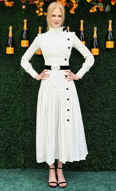 NICOLE KIDMAN in a high-collar polka dot dress worn with a black belt and Stuart Weitzman sandals at the Veuve Clicquot Polo Classic in Jersey City, New Jersey. Modest Fashion, Hijab Fashion, Fashion Dresses, Korea Fashion, Japan Fashion, Dot Dress, Dress Skirt, Dress Up, Dress Long