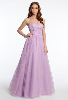 BEADED BODICE TULLE BALLGOWN #purple #longdress #beaded #camillelavie #ballgown #purpledress #dresses