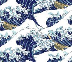 the endless waves of Hokusai fabric by weavingmajor on Spoonflower - custom fabric
