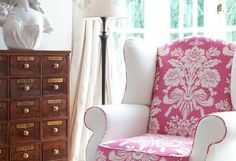 Pretty armchair...  Country Homes and Interiors