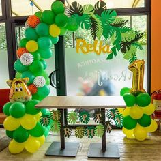 Zoo Birthday, Baby First Birthday, Birthday Cards, Balloon Decorations, Birthday Party Decorations, Safari Party, Candy Bouquet, Backdrops For Parties, Baby Shower Parties