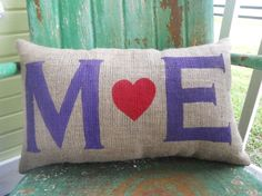 Personalized Love Initials Burlap Throw Accent Pillow Custom Colors Available Wedding Anniversary Gift Home Decor on Etsy, $26.00