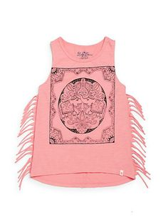 Lucky Brand | Girl's Elle Fringed Embellished Top | SAKS OFF 5
