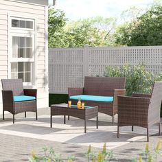 Patio furniture will extend your fun and relaxation time to your outside space. Within the key pieces, you can find for a patio, patio chairs are the number one and essential to have. Even if you don't have a table, a patio chair will always allow you to chill and enjoy the sun outdoors. And maybe invite some company over to sit down and talk. Wicker Table And Chairs, Wicker Patio Furniture Sets, Balcony Furniture, Rattan Sofa, Patio Chairs, A Table, 3 Piece Patio Set, Porch Garden, Single Sofa