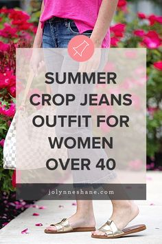 This hot pink linen tank with crop jeans and metallic sandals is an effortless summertime look that's both chic and comfortable. Cropped Jeans Outfit, Crop Jeans, Cyndi Spivey, Summer Denim, Fashion For Women Over 40, Metallic Sandals, Subtle Textures, Summer Colors, My Favorite Color