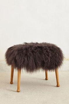 Anthropologie Luxe Fur Stool