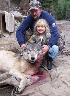"Image from the page ""Kill all the wolves in Idaho"". don't buy their  pathetic lie. The hunters do not love nature, do not respect the animals. Million movies and photos will testify their despise. Who is forced to kill to survive, don't denigrates his victim, don't humiliates its body, not laughs at his death. Who kills for lust, instead, cannot help but show his contempt to the world, enjoys in desecrate the body of the sentient being who have killed. Who kills for lust is a vulgar murderer..."