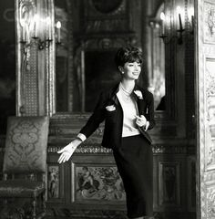 1959, Marie-Helene Arnaud wearing a black Chanel suit with a white silk blouse - Image by © Condé Nast Archive/CORBIS