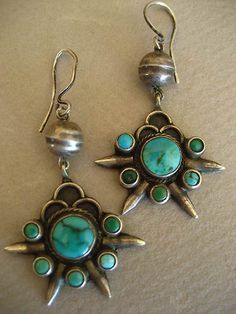 Pretty Vintage Navajo Turquoise Earrings | eBay