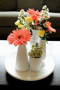 Multiple Vase Centerpiece Tutorial with everything mismatched from the thrift store and painted to match