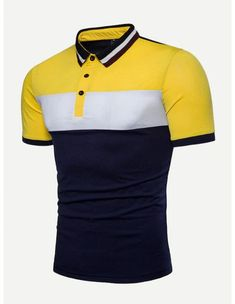Shop Men Cut And Sew Panel Polo Shirt online. SHEIN offers Men Cut And Sew Panel Polo Shirt & more to fit your fashionable needs. Polo Shirt Outfits, Mens Polo T Shirts, Polo Tees, Shirt Men, Polo Outfit, Men's Polo, Polo Design, Sportswear, Shirt Designs